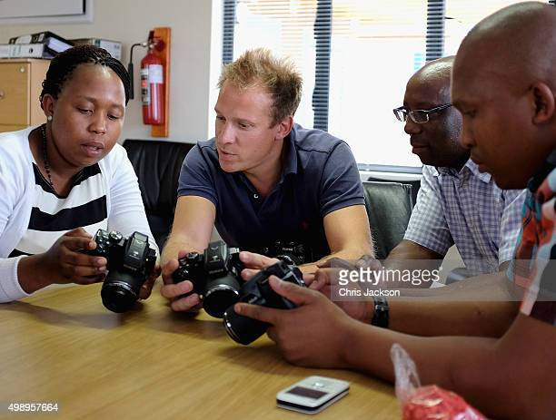 Getty Images Royal photographer Chris Jackson gives photography lessons to Sentebale Staff at the Sentebale Mamohato Children's Camp on October 17...
