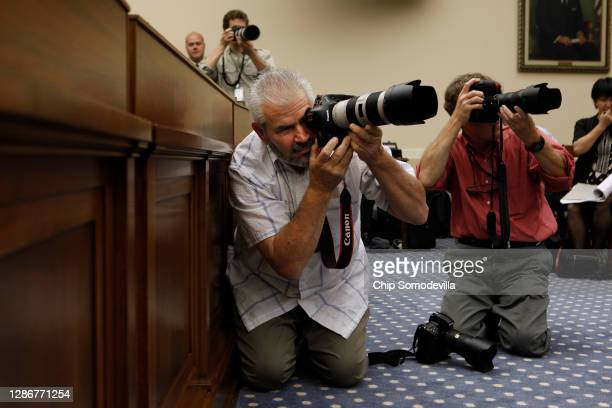 Getty Images Staff Photographer Mark Wilson makes photographs of retired NASA astronaut Neil Armstrong, commander of the Apollo 11 mission and the...