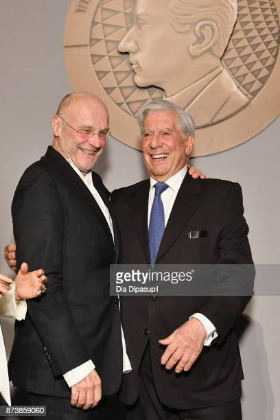 Getty Medal Award Recipients Mario Vargas Llosa and Anselm Kiefer pose for a photo during the Getty Medal Dinner 2017 at The Morgan Library Museum on...