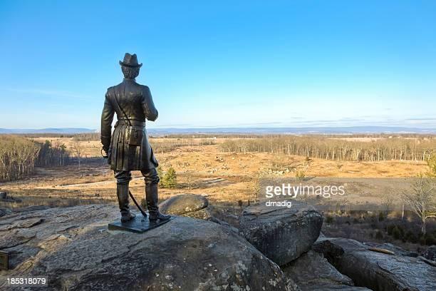 gettysburg battlefield - little round top panorama - gettysburg stock photos and pictures