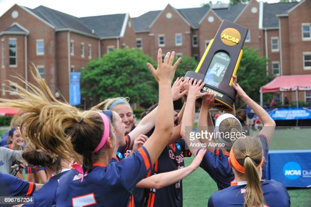 Gettysburg College celebrates their victory over the College of New Jersey during the Division III Women's Lacrosse Championship held at Kerr Stadium...