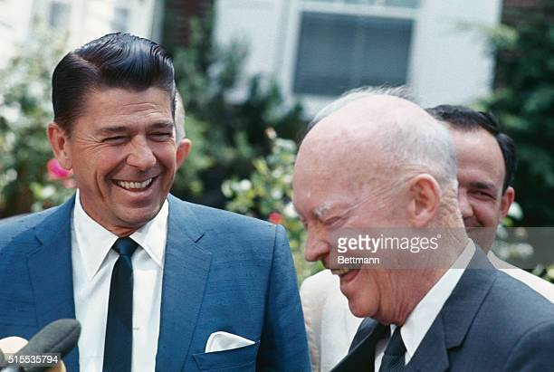 Gettysburg, PA.: Former President Dwight D. Eisenhower with Ronald Reagan, GOP nominee for the California Governorship, during their press conference...