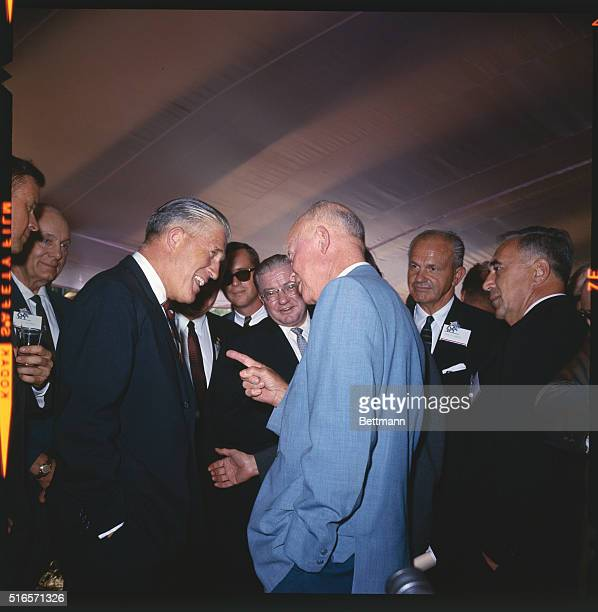 Gettysburg Pennsylvania Former President Dwight D Eisenhower with Michigan Governor George Romney at Republican Party leaders' conference at...