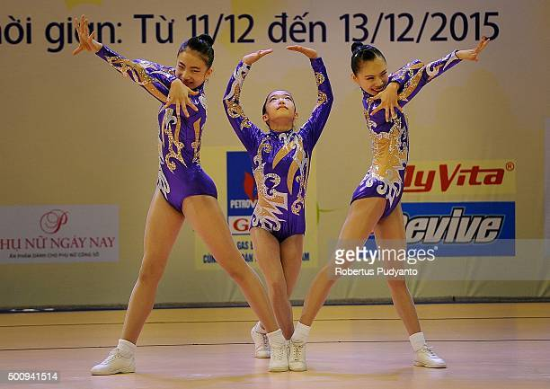 Geun Na Park Byeng Eun Go and Min Ji Kim of Korea compete in Qualification Age Group 1 Trios during the 5th Asian Aerobic Gymnastics Championships at...