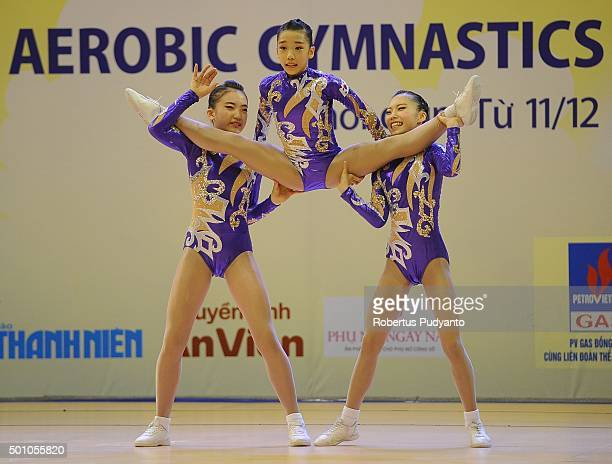 Geun Na Park Byeng Eun Go and Min Ji Kim of Korea compete in the FinalAge Group 1 Trio during the 5th Asian Aerobic Gymnastics Championships at...