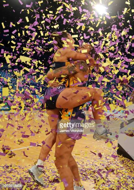 Geva Mentor and Kelsey Browne of the Sunshine Coast Lightning celebrate after their Super Netball Grand Final match between the the Fever and the...