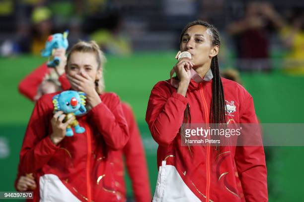 Geva Mentor of England celebrates victory in the Netball Gold Medal Match on day 11 of the Gold Coast 2018 Commonwealth Games at Coomera Indoor...