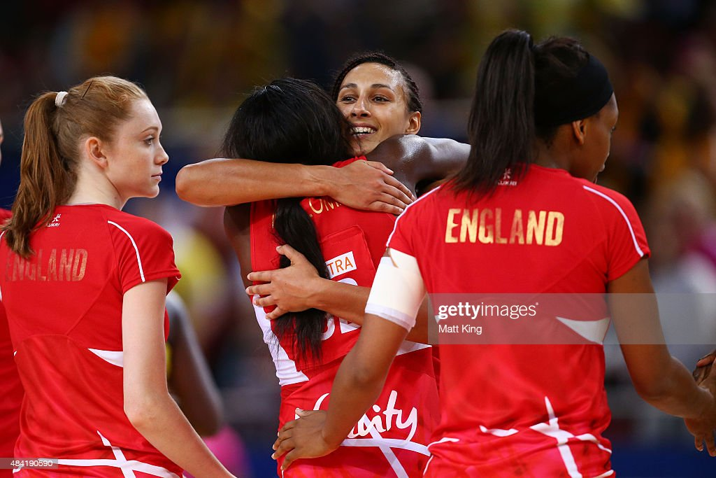 Geva Mentor of England (C) celebrates with team mates after victory in the 2015 Netball World Cup Bronze Medal match between England and Jamaica at Allphones Arena on August 16, 2015 in Sydney, Australia.