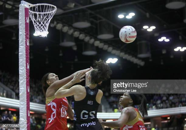 Geva Mentor of England smashes the ball away from Bailey Mes of New Zealand Netball Quad Series Vitality Netball International match between England...