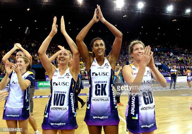 Geva Mentor of the Lightning and team mates celebrate their victory after the Super Netball Major Semi Final match between the Firebirds and the...