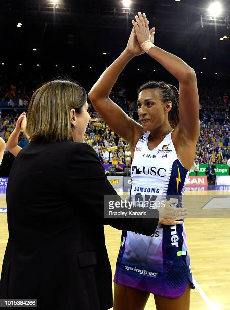 Geva Mentor of the Lightning celebrates victory with Assistant Coach Kylee Byrne after the Super Netball Major Semi Final match between the Firebirds...
