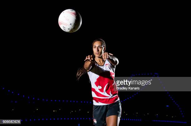 Geva Mentor passes the ball during a portrait shoot as the England Netball Team continue preparations ahead of the 2018 Gold Coast Commonwealth Games...