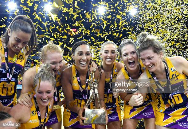 Geva Montor of the Lightning and team mates celebrate victory after the Super Netball Grand Final match between the Lightning and the Giants at the...