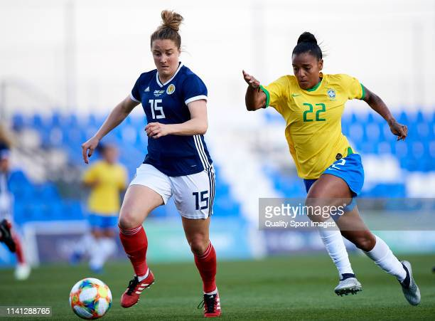 Geyse Ferreira of Brazil competes for the ball with Sophie Howard of Scotland during the Women's International friendly match between Brazil and...