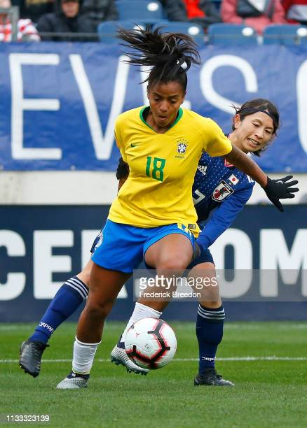 Geyse of Brazil plays during the 2019 SheBelieves Cup match between Brazil and Japan at Nissan Stadium on March 2 2019 in Nashville Tennessee
