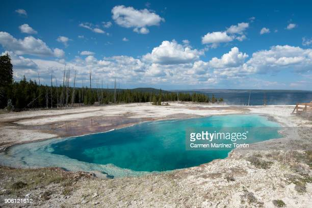 Geyser at Yellowstone National Park against sky