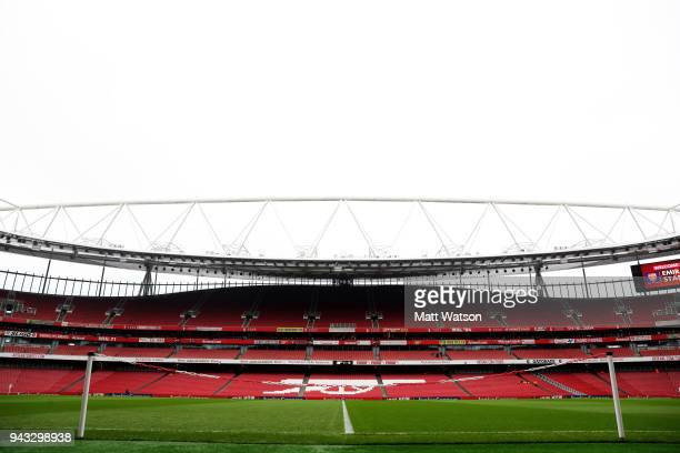 A ggeneral view ahead of the Premier League match between Arsenal and Southampton at Emirates Stadium on April 8 2018 in London England