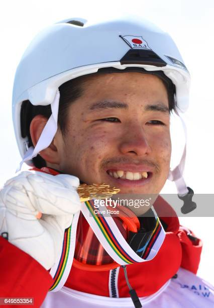 Ggold medalist Ikuma Horishima of Japan poses during the medal ceremony for the Men's Moguls on day one of the FIS Freestyle Ski Snowboard World...