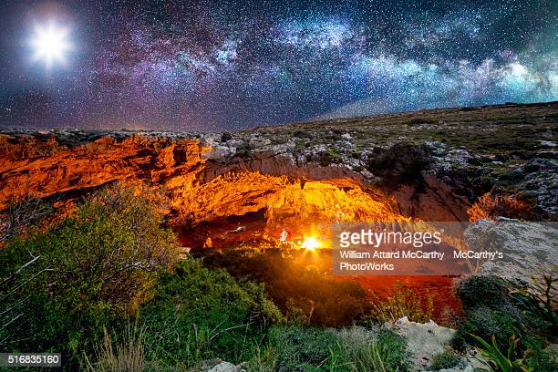 ghajn tuta cave - cave fire stock photos and pictures