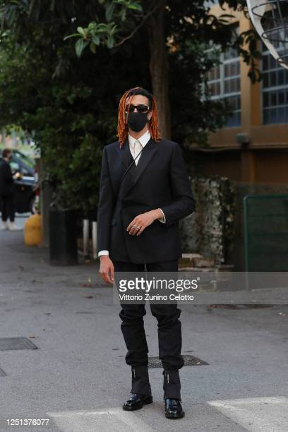 Ghali is seen arriving at the Aniye By fashion show at Magazzini Generali on June 22, 2020 in Milan, Italy.