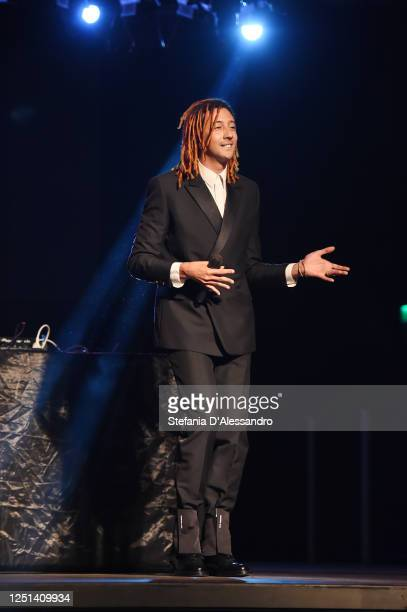 Ghali is seen performing at the Aniye By fashion show at Magazzini Generali on June 22, 2020 in Milan, Italy.