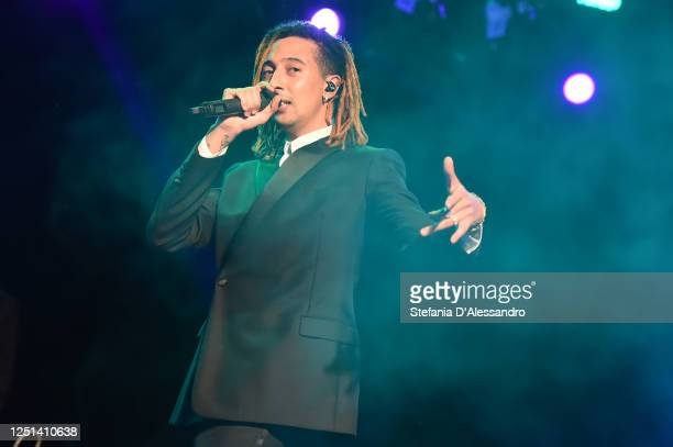 Ghali is seen performing at the Aniye By fashion show at Magazzini Generali on June 22 2020 in Milan Italy