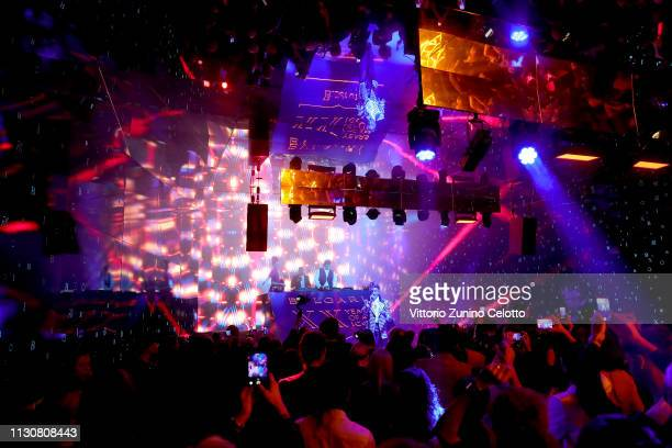 Ghali performs during the Bvlgari BZERO1 XX Anniversary Global Launch Event at Auditorium Parco Della Musica on February 19 2019 in Rome Italy