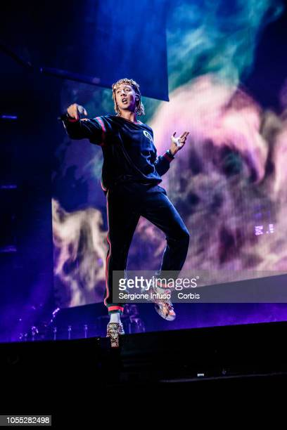 Ghali performs on stage at Mediolanum Forum on October 29, 2018 in Milan, Italy.