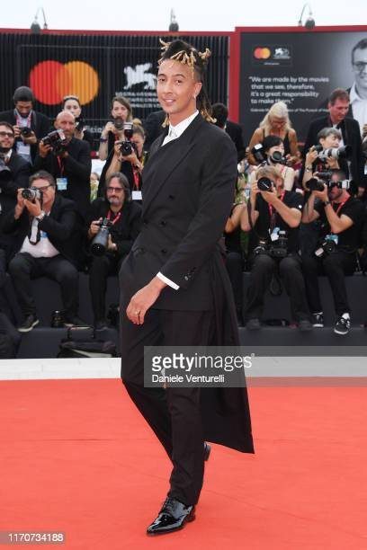 Ghali walks the red carpet ahead of the Opening Ceremony and the La Vérité screening during the 76th Venice Film Festival at Sala Grande on August 28...