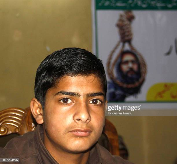 Ghalib son of Afzal Guru during one day seminar organised by Hurryait Conference Jammu and Kashmir in remembrance of JKLF founder Muhammad Maqbool...