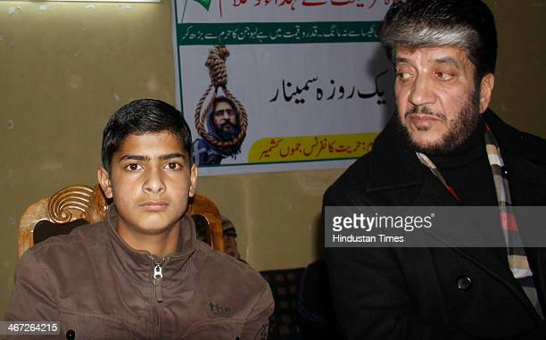 Ghalib son of Afzal Guru with separatist leader Shabir Ahmad during one day seminar organised by Hurryait Conference Jammu and Kashmir in remembrance...