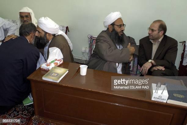 Ghalibaf Presidential candidate speaking with Leader of Sunnite Muslems in Zahedan