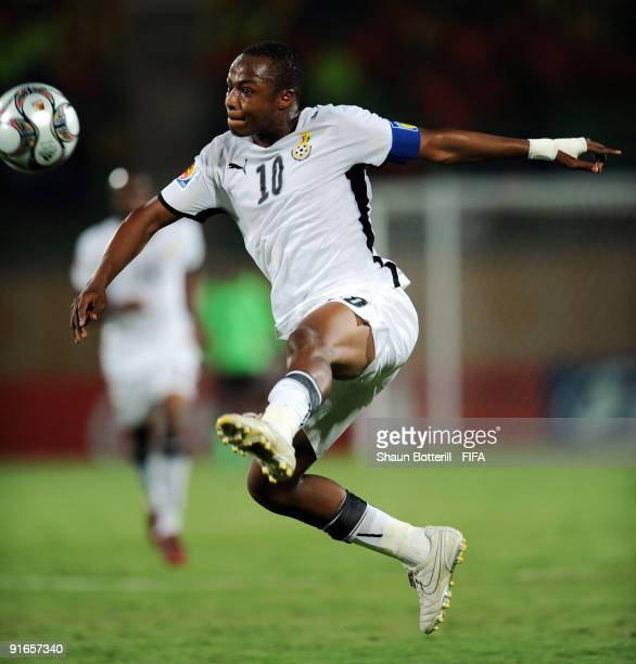 Ghana captain Andre Ayew in action during the FIFA U20 World Cup Quarter Final match between Korea Republic and Ghana at the Mubarak Stadium on...