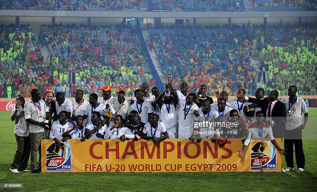 Ghana celebrate during the FIFA U20 World Final match between Ghana and Brazil at the Cairo International Stadium on October 16, 2009 in Cairo, Egypt.