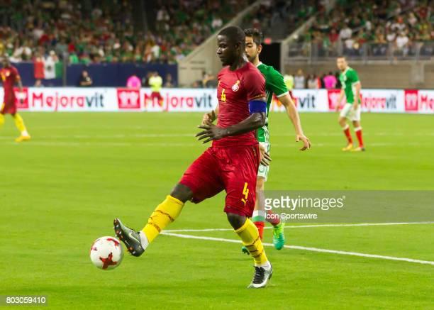 Ghana defender Jonathan Mensah taps the ball during the Mexico vs Ghana friendly soccer match at on June 28 2017 at NRG Stadium in Houston Texas