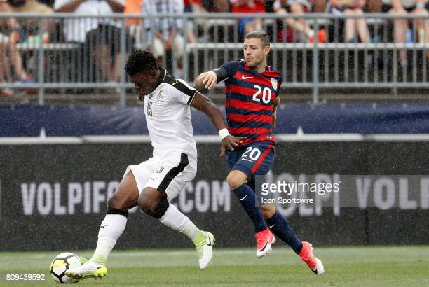 Ghana defender Rashid Sumalia tries to fend off United States midfielder Paul Arriola during an international friendly between the United States and...