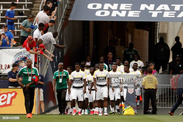Ghana enters the field before an international friendly between the United States and Ghana on July 1 at Pratt Whitney Stadium at Rentschler Field...