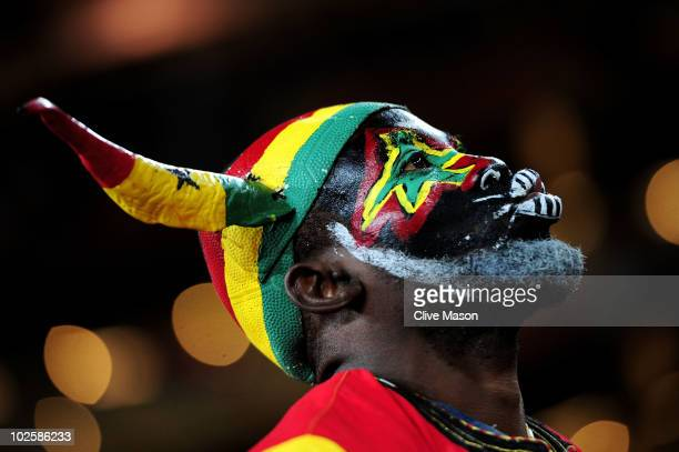 Ghana fan enjoys the atmosphere prior to the 2010 FIFA World Cup South Africa Quarter Final match between Uruguay and Ghana at the Soccer City...
