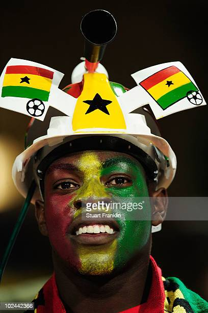 Ghana fan wears a makarapa helmet prior to the 2010 FIFA World Cup South Africa Round of Sixteen match between USA and Ghana at Royal Bafokeng...