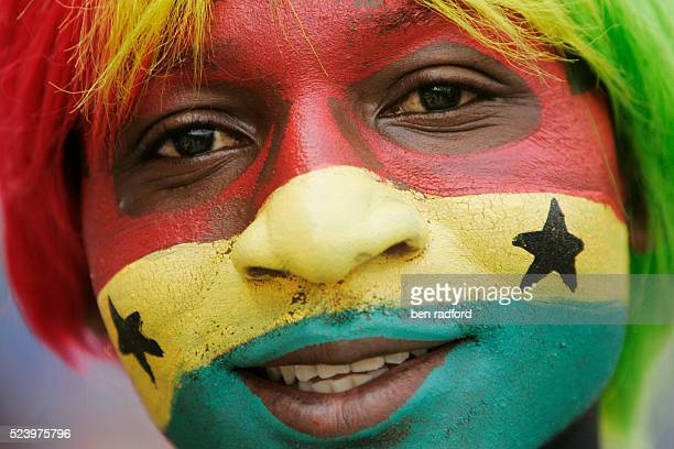 A Ghana fan with painted face during the opening Group A match of the 2008 African Cup of Nations between Ghana and Guinea in the Ohene Djan Stadium...