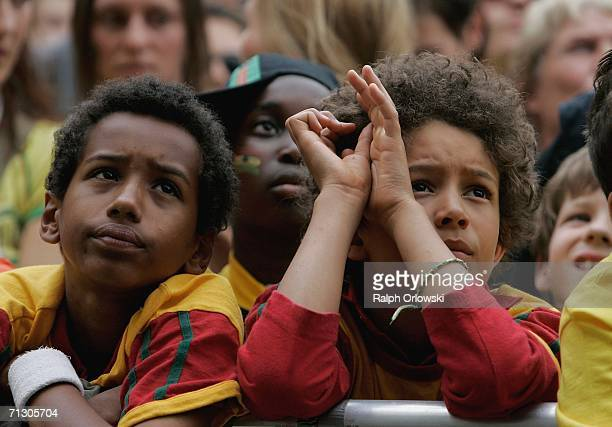 Ghana football fans watcha broadcast of the World Cup match on June 27, 2006 in Dortmund, Germany. Brazil plays against Ghana in their first...