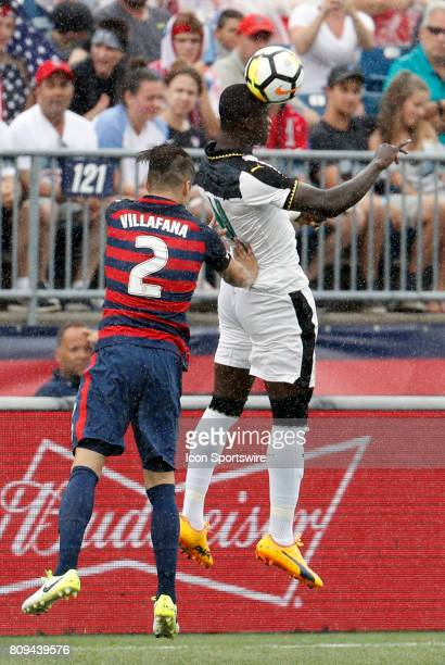 Ghana forward Raphael Dwamena heads the ball away from United States defender Jorge Villafana during an international friendly between the United...