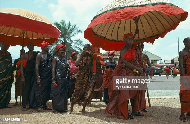 Ghana Funeral Ashanti tribe with umbrellas denoting office attending funeral Seen as a celebration a funeral typically lasts several days and is...