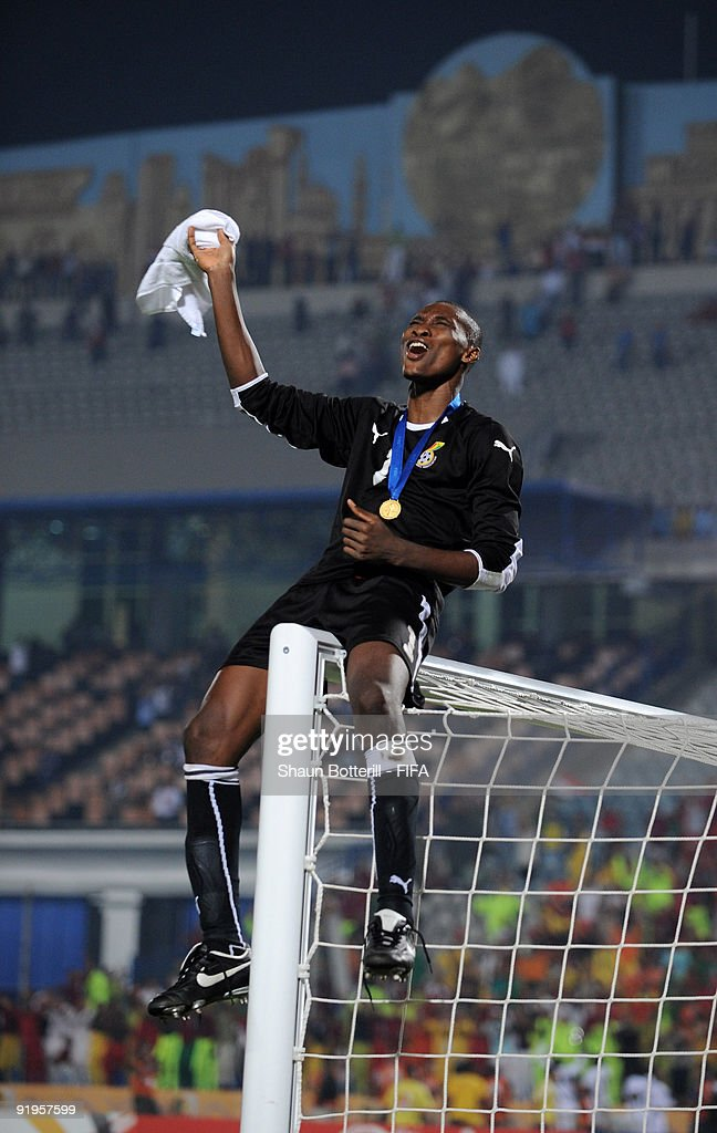Ghana goalkeeper Daniel Agyei celebrates at the end of the FIFA U20 World Final match between Ghana and Brazil at the Cairo International Stadium on October 16, 2009 in Cairo, Egypt.