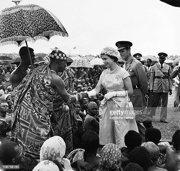 Ghana, Kumasi Hm The Queen Elizabeth Ii And Prince Philip Met The King Of Ashanti And African Chiefs In November 1961.