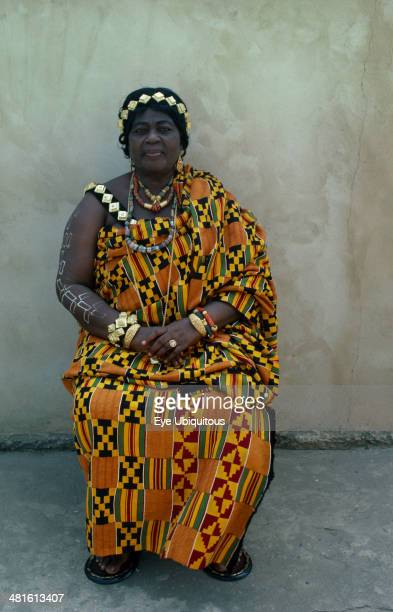 Ghana, Kumasi, Portrait of the Queen Mother wearing traditional Ashanti cloth.