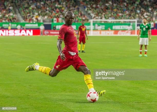 Ghana midfielder Issac Sackey crosses the ball during the Mexico vs Ghana friendly soccer match at on June 28 2017 at NRG Stadium in Houston Texas
