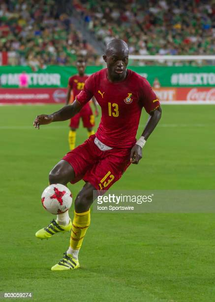 Ghana midfielder Issac Sackey moves the away from the corner during the Mexico vs Ghana friendly soccer match at on June 28 2017 at NRG Stadium in...