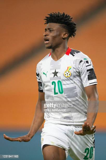 Ghana Mohamed Kudus reacts during the 2022 African Cup of Nations qualifying match between South Africa and Ghana at FNB Stadium in Johannesburg on...