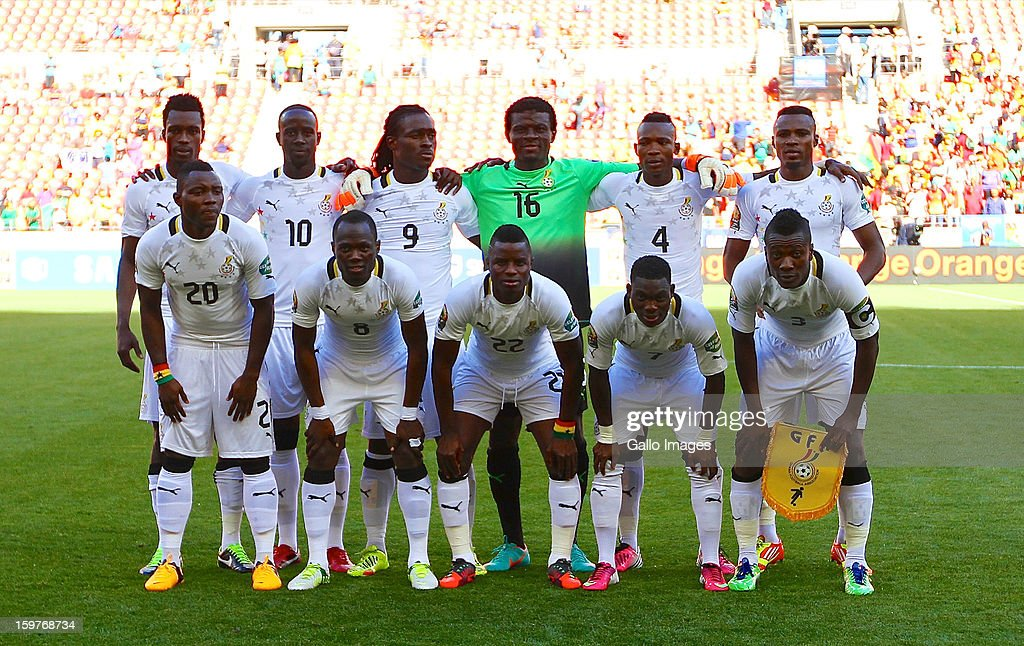 Ghana players line up for a team photograph before the 2013 African Cup of Nations match between Ghana and Congo DR at Nelson Mandela Bay Stadium on January 20, 2013 in Port Elizabeth, South Africa.